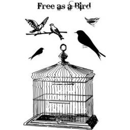 Free as a bird size A6 ( cut out and mounted on cling cushioning)