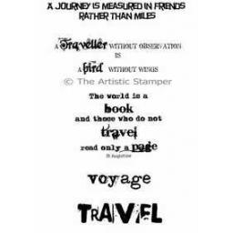 Travelling Words A6 (cut out and mounted on cling cushioning)