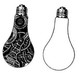 Inspiration Light bulbs size 85 mm high x 42 mm wide each (cut out and mounted on cling cushioning)