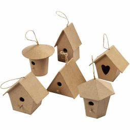 Mini Papier Mache Bird Houses 6 different ( you will receive 1)
