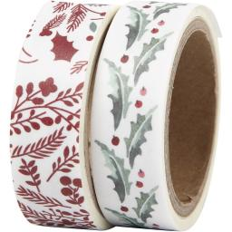 Washi Tape, holly and branches,