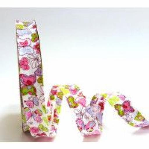 18mm wide Pink Butterfly Print Bias Binding x 1 metre