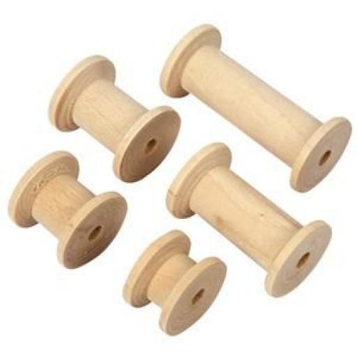 Wooden spools x 5
