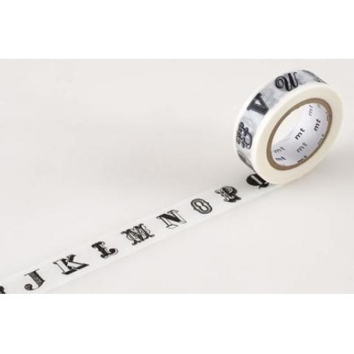 Washi Tape -Alphabet Black 15mm x 10m