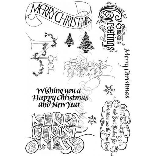 Christmas Greetings # 1 A5 (cut out and mounted on cling cushioning)