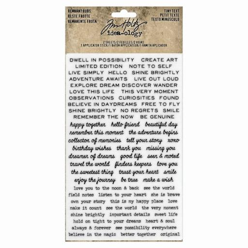 Tim Holtz Ideaology - Remnant Rubs Tiny Text