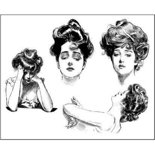 Small but beautiful Gibson Girls size A7 (cut out and mounted on cling cushioning)