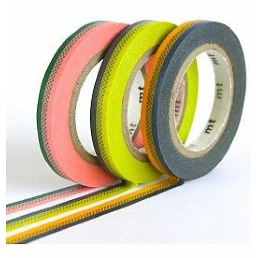Washi Tape - Slim Deco B 6mm x 10mm 3 rolls