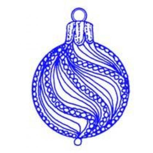 Round Twisted Bauble size 5.25 x3.25 cm (cut out and mounted on cling cushioning)