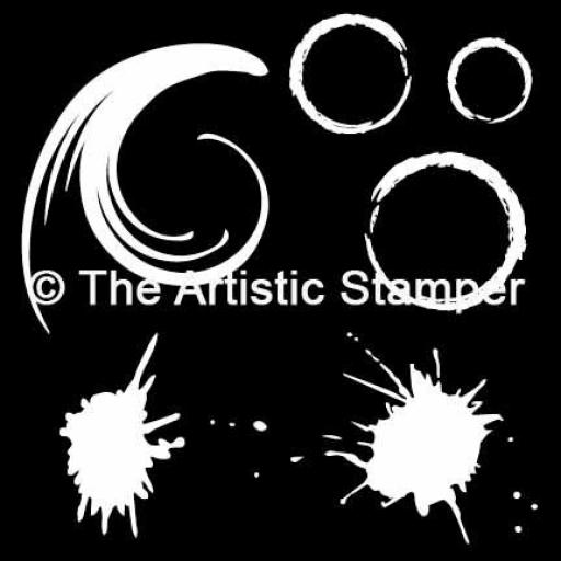 The Artistic Stamper Splats & Swirl Mask 6 x 6""