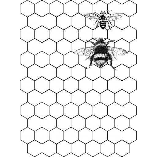 Honeycomb Background & Free Bees (cut out and mounted on cling cushioning)