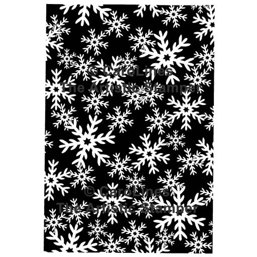 "Palette Snowflakes Background size 6"" x 4"" C183 © CaroLines (cut out and mounted on cling cushioning)"
