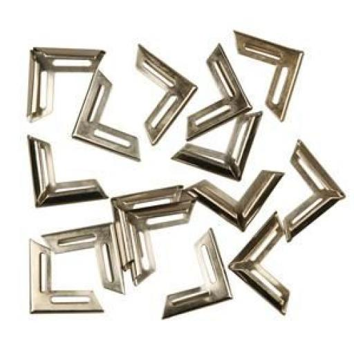 Metal corners, Silver-plated, 19x19 mm, inner size: 5 mm pack of 12