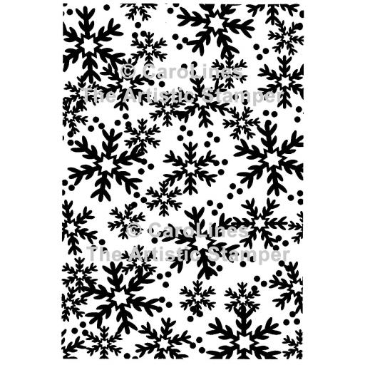 "Large Snowflakes Background size 6"" x 4"" C182 © CaroLines (cut out and mounted on cling cushioning)"