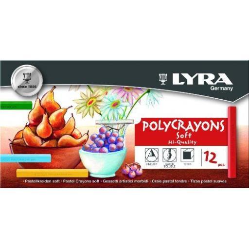 Lyra PolyCrayons soft x 12