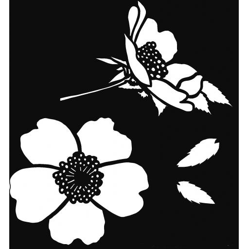 "The Artistic Stamper Dog Rose 6"" x 6"" Stencil © Lesley Matthewson"