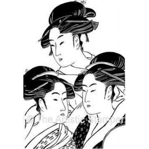 3 Oriental Ladies (cut out and mounted on cling cushioning)
