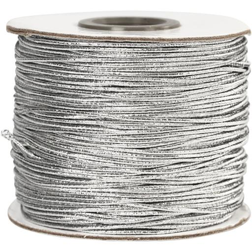 Silver Elastic Beading Cord, thickness 1 mm thick x 1 metre