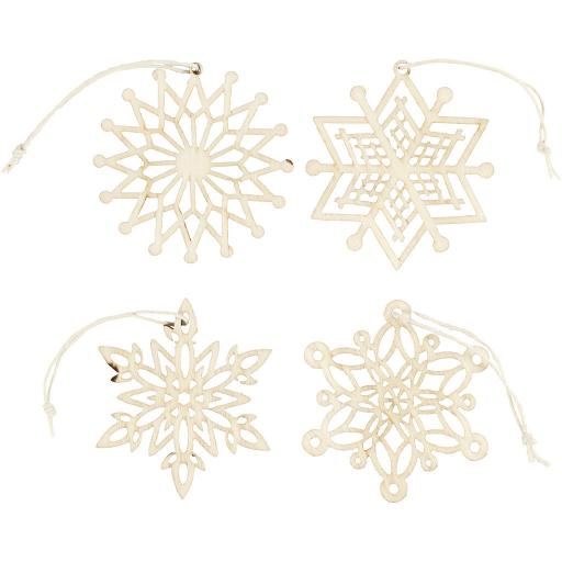 Wooden Snowflake, D: 7 cm, thickness 0.3 mm, plywood, x 4 different ones