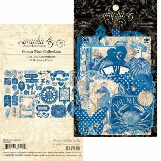 Graphic 45 - Ocean Blue - Ocean Blue Die Cut Assortment