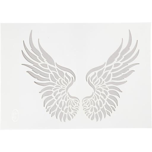Stencil , A4 21x30 cm, , wings