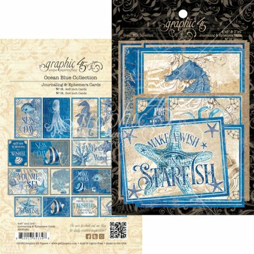 Graphic 45 - Ocean Blue - Ocean Blue Ephemera and Journaling Cards