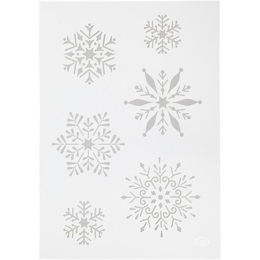 Stencil , A4 21x30 cm, , snowflake, 1pc