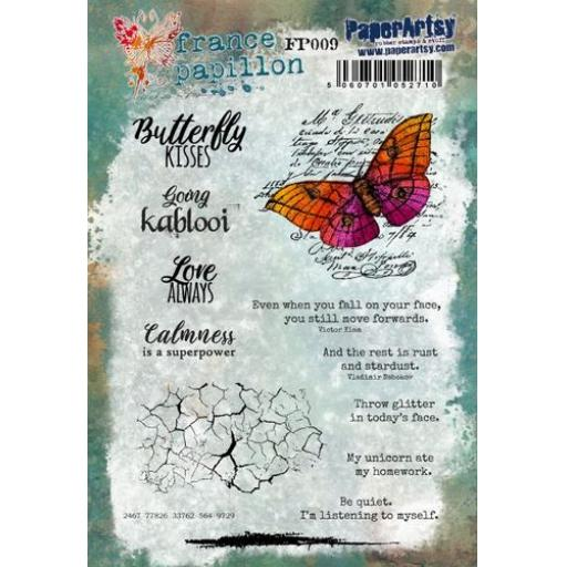 PaperArtsy - France Papillon 009 (A5 stamp set, trimmed, on EZ)