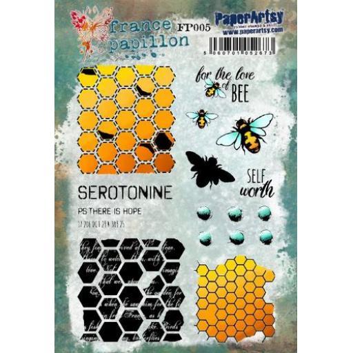 PaperArtsy - France Papillon 005 (A5 stamp set, trimmed, on EZ)