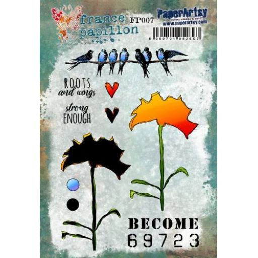 PaperArtsy - France Papillon 007 (A5 stamp set, trimmed, on EZ)