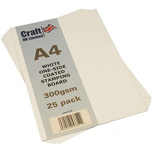 Craft UK A4 White one sided Coated Stamping Board 300gsm x 25 sheets