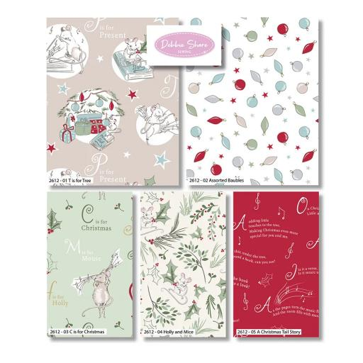 Debbie Shore Fat Quarters x 5 - A Christmas Tail