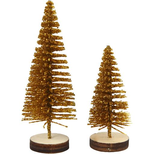 Christmas Spruce Trees, 40+60 mm, Gold, 5 pc