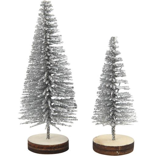 Christmas Spruce Trees, 40+60 mm, Silver, 5 pc