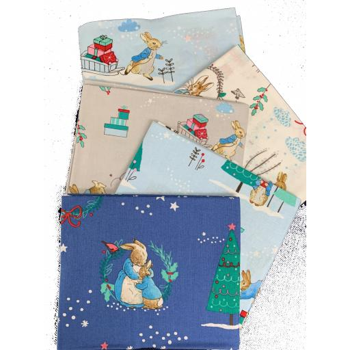 Peter Rabbit Christmas by Beatrix Potter ™ ©Frederick Warne & Co Fat Quarters x 5