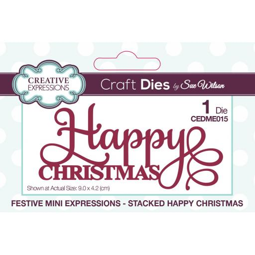 Creative Expressions Sue Wilson Mini Expressions Stacked Happy Christmas Craft Die