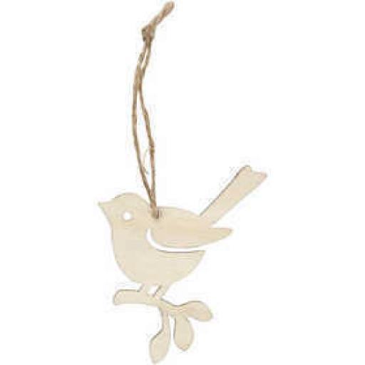 Wooden Bird, 9 cm, W: 6,5 cm,