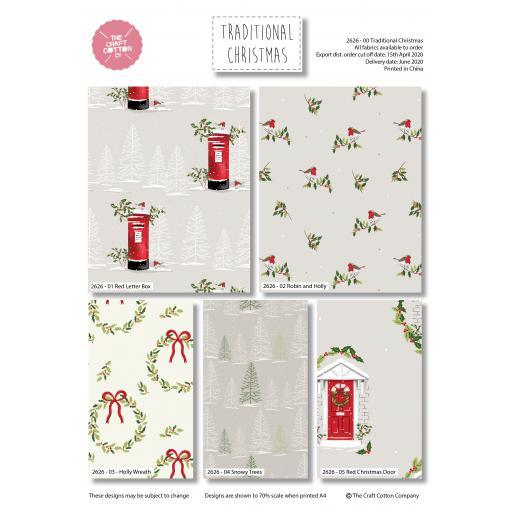 Fat Quarters x 5 - Traditional Christmas