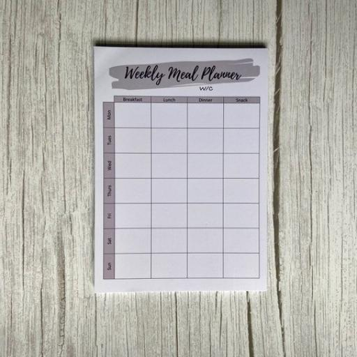 Complete Planners -Weekly Meal Planner - A5 (available in Grey or Peach)