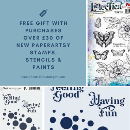 Free Gift with Purchases over £30 of new PaperArtsy Stamps, Stencils & paints