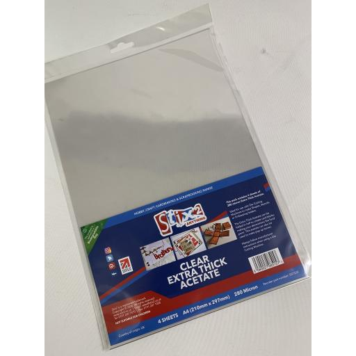 Stix2 - A4 Extra Thick Clear Acetate Sheets - 280 Micron thick - 210mm x 297mm (A4)