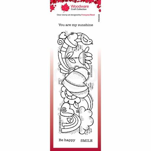 Woodware Clear Singles Heart Border 8 in x 2.6 in Stamp