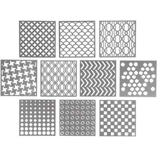 Various Stencils x 10 , size 15x15 cm, thickness 0,31 mm,