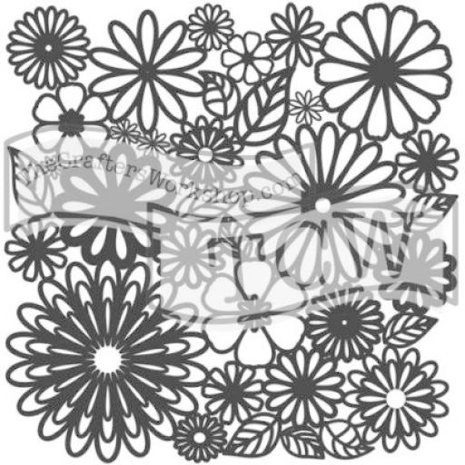 The Crafter's Workshop - Flower Frenzy 6x6 Inch Stencil (TCW157s)