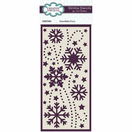 Creative Expressions Sue Wilson Snowflake Flurry Slimline Stencil