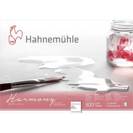 """Hahnemuhle - Harmony Watercolour 300gsm Cold Pressed Block 7""""x10"""" 12 Sheets"""