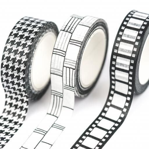 Yippee Stationery Washi Tape {Black & White Film} set of 3