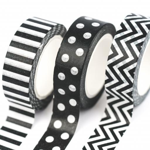 Yippee Stationery Washi Tape {Black & White Dots} set of 3